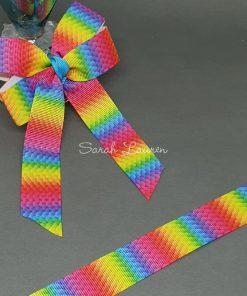 Bright Rainbow Scales Ribbon 22mm