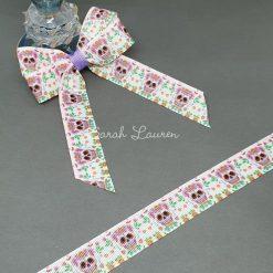 Candy Sugar Skulls on White Ribbon 22mm