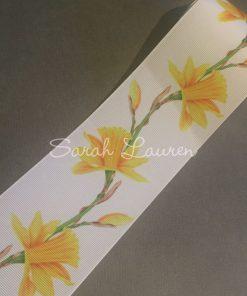 Daffodil Ribbon on White 75mm