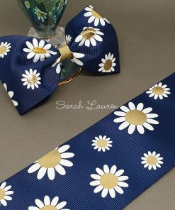 Daisies on Navy Ribbon 75mm