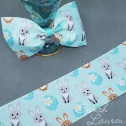 Easter rabbit & Eggs ribbon 75mm