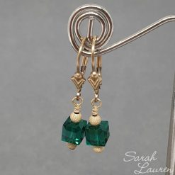 Swarovski Crystal Emerald Cube Earrings 18kt gold filled