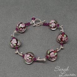 Fuchsia flowers lampwork & swarovski crystal bracelet