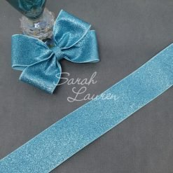 Glitter Grosgrain Ribbon 38mm Aqua