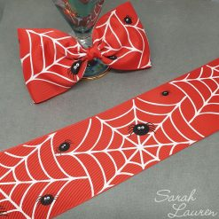 Glow in the Dark Spiderweb Halloween Ribbon 75mm Red
