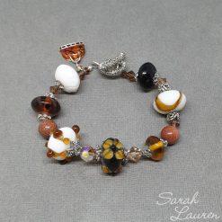 Gold Dust Beaded Lampwork & Swarovski crystal bracelet