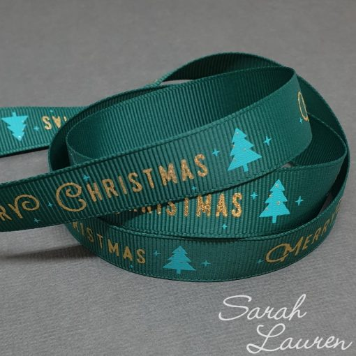 Gold Foil Merry Christmas on Green