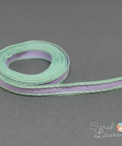 Grosgrain Stitch Ribbon Green & Purple 10mm