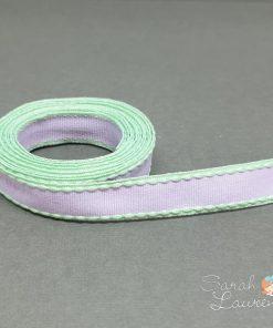 Grosgrain Stitch Ribbon Green & Purple 16mm