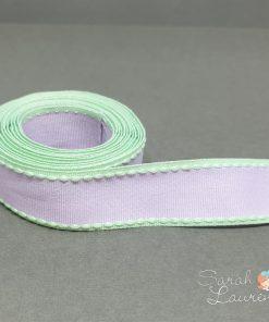 Grosgrain Stitch Ribbon Green & Purple 25mm
