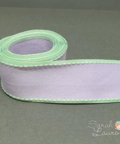 Grosgrain Stitch Ribbon Green & Purple 38mm