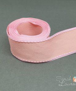 Grosgrain Stitch Ribbon Pink & Apricot 38mm