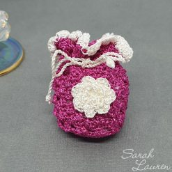 Keepsake pouch dark purple ivory flower