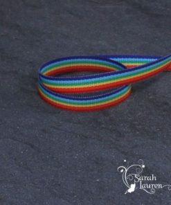 Lollypop stripe rainbow grosgrain ribbon 9mm w
