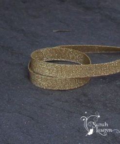 Gold metallic grosgrain ribbon 9mm w
