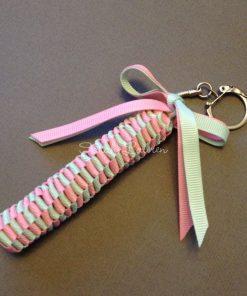 Mini Hawaiian Lei bag charm Kit Pink Pastel Green-min