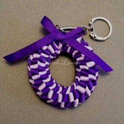Mini Hawaiian Lei bag charm Kit Regal Purple Lt Orchid-min