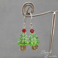 Peridot Swarovski Chrismas Tree Ball end Sterling Sliver earrings