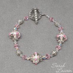 Pink Dottie glass & Swarovski crystal bracelet