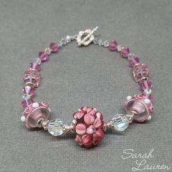Pink Flowers Swarovski crystal bracelet