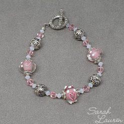 Pink Heart glass & Swarovski crystal bracelet
