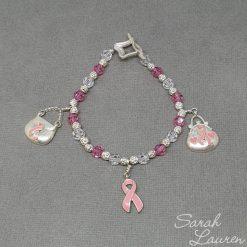 Pink Ribbon Charm Swarovski Crystal Bracelet