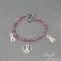 Pink Ribbon Swarovski Crystal Bracelet