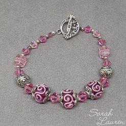 Pink Swirls glass & Swarovski crystal bracelet