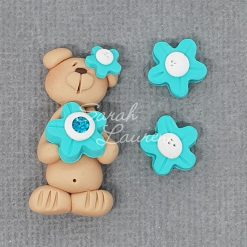 Polymer Clay Centre Bear Teal flower 120