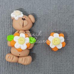 Polymer Clay Centre Bear orange flower 125