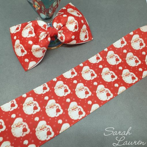 Red Santa Ribbon 75mm Christmas Ribbon