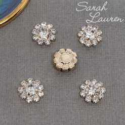 Round Rhinestone Button Flatback 12mm Rose Gold Clear