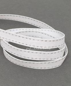 Saddle Stitch Silver White ribbon 9mm