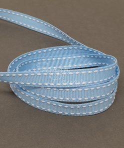Saddle Stitch White Blue Mist ribbon 9mm
