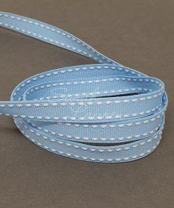 Saddle Stitch White Blue Mist ribbon 9mm