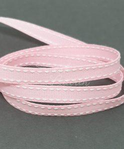 Saddle Stitch White Pearl Pink ribbon 9mm