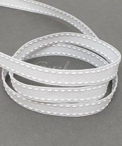 Saddle Stitch White Shell Grey ribbon 9mm
