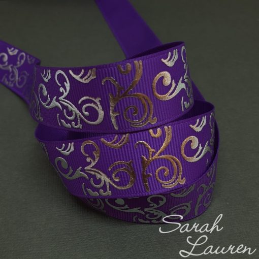 Silver Foil Swirl on Purple ribbon