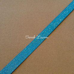 Silver Purl Ribbon Aegean Blue Glitter Ribbon 9mm