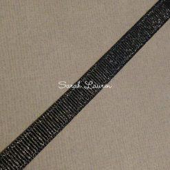 Silver Purl Ribbon Black Glitter Ribbon 9mm