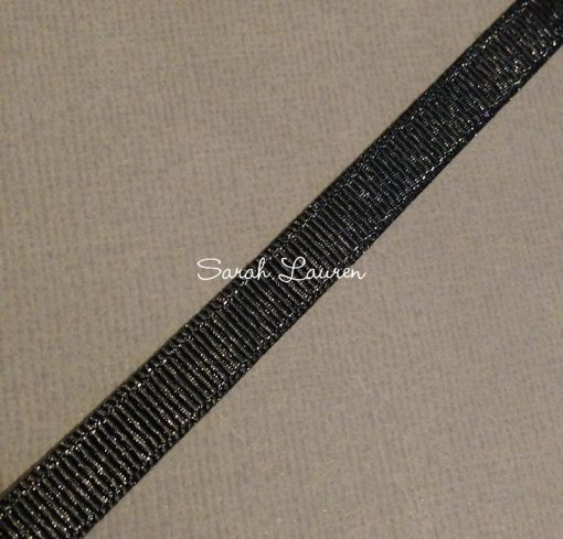 Silver Purl Ribbon Black Glitter Ribbon 9mm
