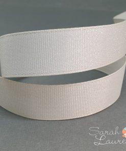 Silver Purl Ribbon Cream 22mm
