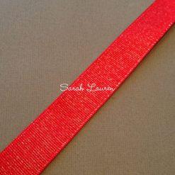 Red Silver Glitter Ribbon Silver Purl Ribbon 22mm