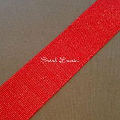 Silver Purl Ribbon Red Glitter Ribbon 38mm