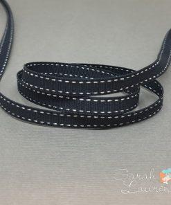 Silver Saddle Stitch on Black grosgrain 9mm