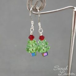 Small Peridot Swarovski Chrismas Tree Sterling Sliver earrings