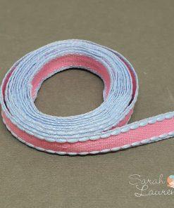 Stitch Grosgrain Ribbon Pink & Blue 10mm