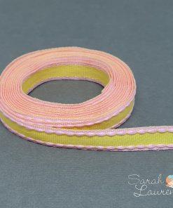 Stitch Grosgrain Ribbon Pink & Yellow 10mm
