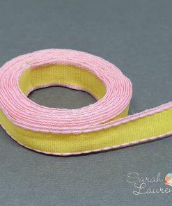 Stitch Grosgrain Ribbon Pink & Yellow 16mm