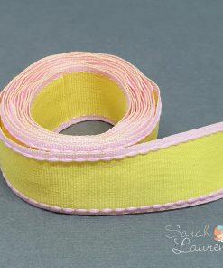 Stitch Grosgrain Ribbon Pink & Yellow 25mm